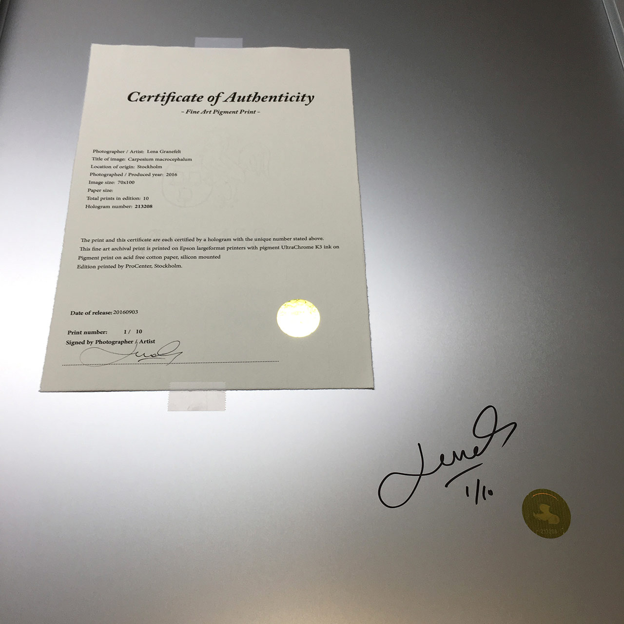 Signed Fineartprint and a Authenticity certificate